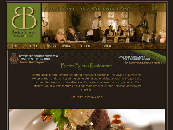 Screenshot of the Bistro Bijoux website