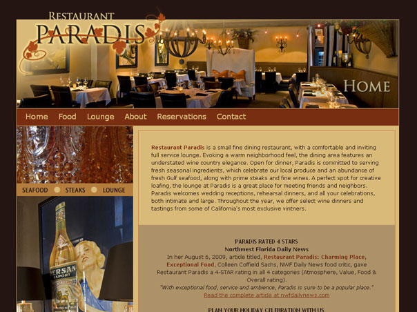 Screenshot of the Restaurant Paradis website